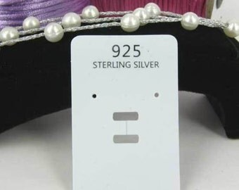 50 925 Silver White Earring cards, Jewellery cards, Jewellery display cards, Jewelry tag, Rectangular display card