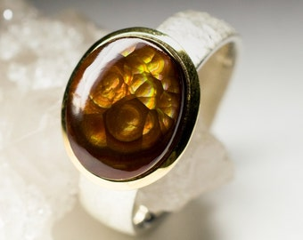 Mexican Fire Agate Silver Ring art e-005 | Natural Organic Fire Agate Sterling Silver Fine Jewelry