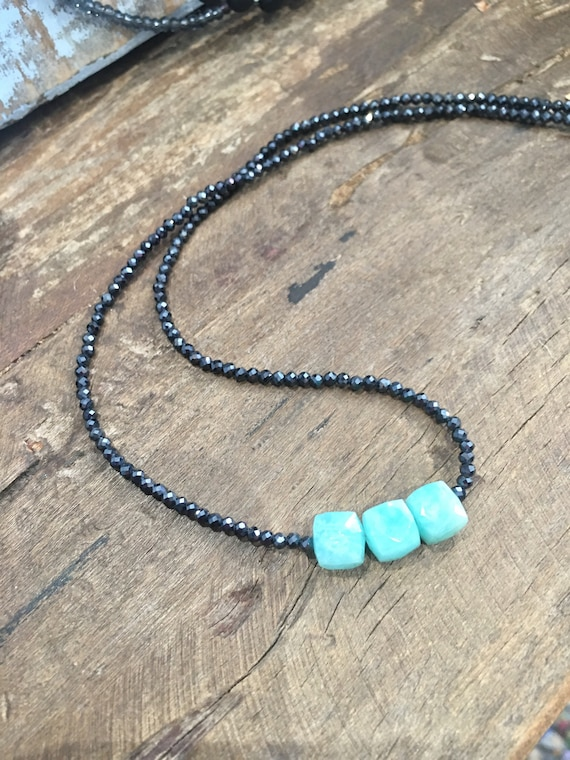Amazonite & Black Spinel Necklace