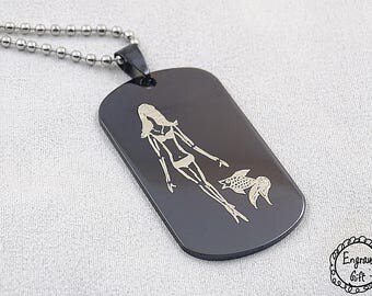 Custom Drawing Engrave , Free Hand drawing Laser Engrave on Stainless Steel Dog Tag Necklace/Keyring