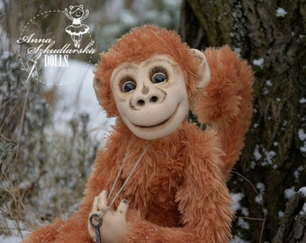 Monkey- toy for collectors: home decoration- handmade toy- OOAK