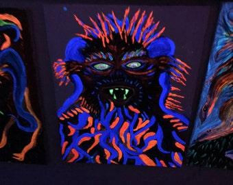 "Blue alien glows in dark .16x20"""