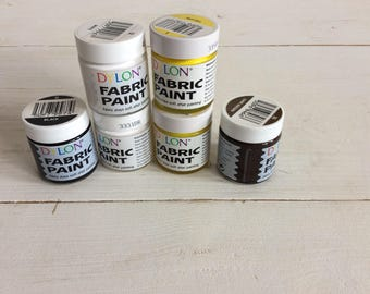Fabric Paint - Six New Dylon Fabric Paints Black, White, Yellow And Dark Brown 25 ml Jars