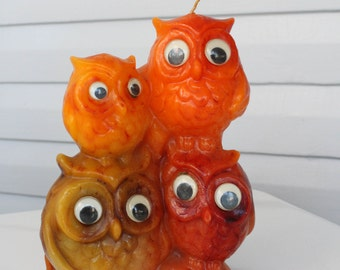 Vintage Googly Eye Owl Family Candle-Orange-Red-Yellow-Set of 4-Rad-Hippie-Retro