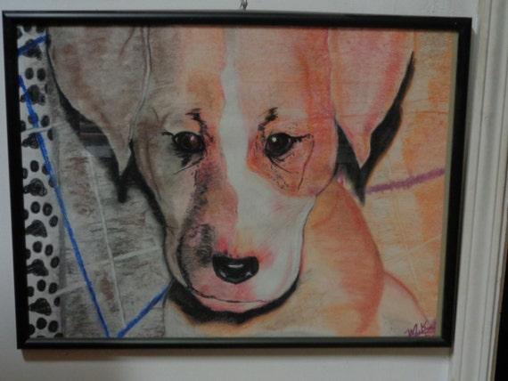 """art- framed- """"Puppy Stare"""""""