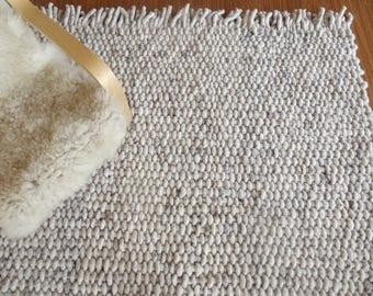 Hand Woven Wool Rug, Super Chunky | Pure Wool | Wool Rug, Woven Rug