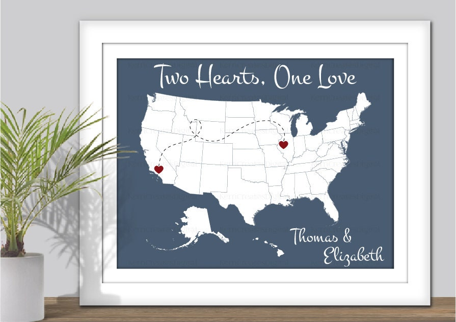 State Map Art Two Hearts One Love USA Map Art PRINTABLE - 3 color us map