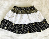 Geometric Black White and Gold Tri Pattern Fabric Cotton Girls Skirt - Fancy Kids Party Outfit - Toddler Skirt - Modest Girls Clothing