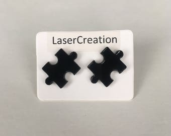 Jigsaw Piece Stud Earrings