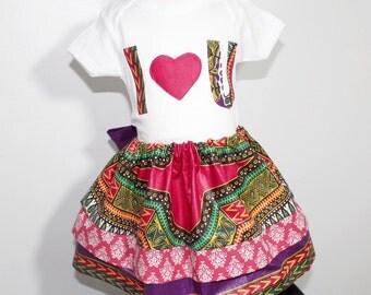 Dashiki bodysuit dashiki skirt tiered ruffle skirt 2 pc set-Love