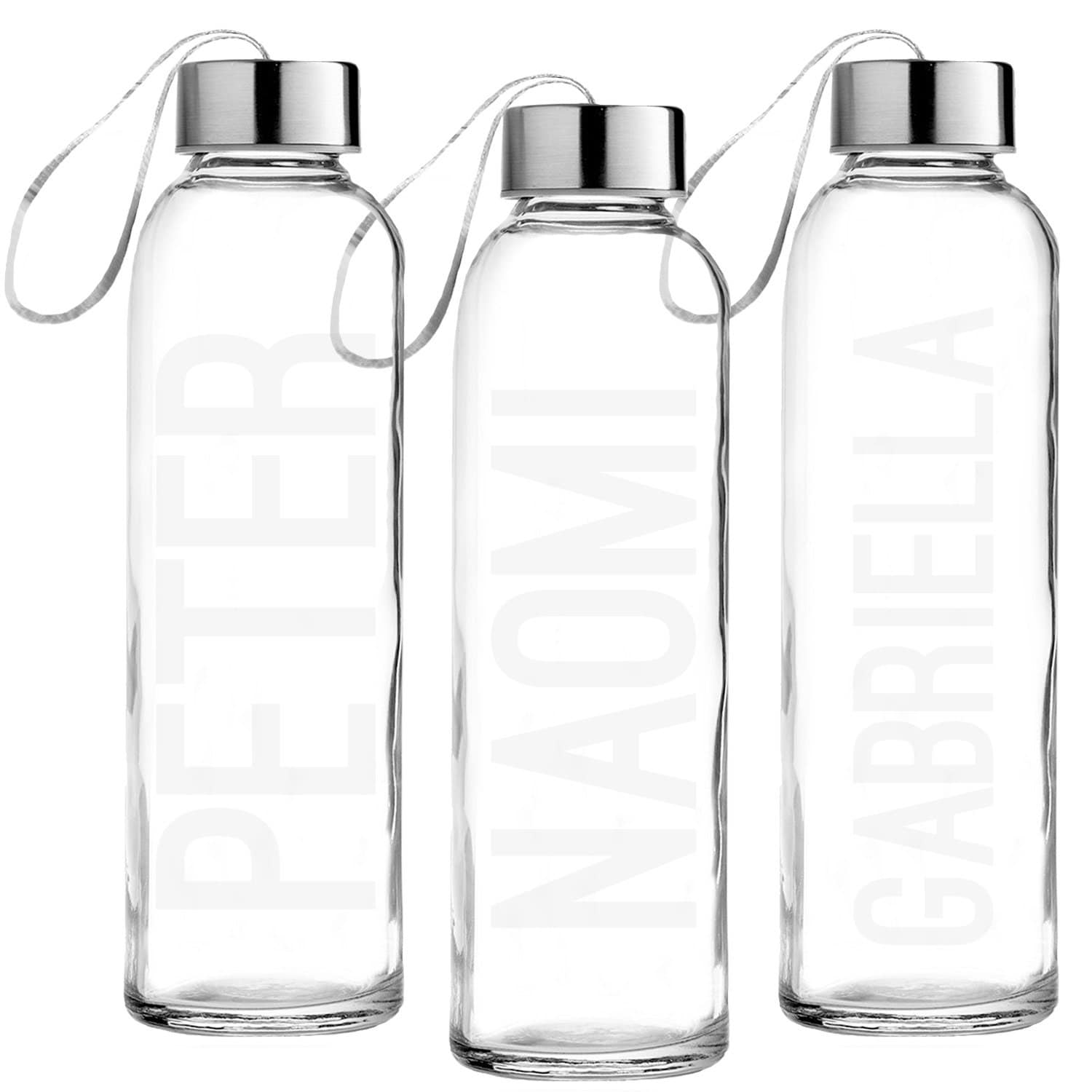 custom etched glass water bottle personalized glass bottle. Black Bedroom Furniture Sets. Home Design Ideas