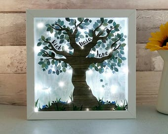 Family Tree Lightbox, Mum and Dad gift, Personalised Present off Kids, Gifts for Wife, Mam gifts, Mums Birthday, Family Name wall light
