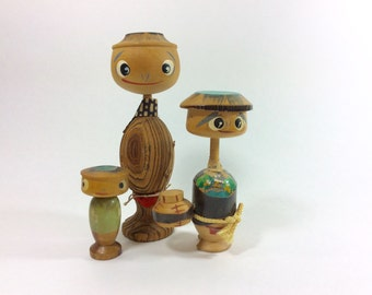 Vintage Kokeshi Bobble Head Dolls-Kokeshi Doll Collection