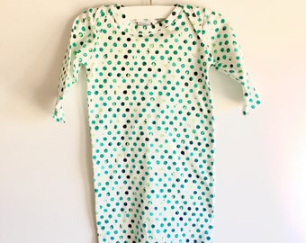 Baby Gown - Green Dots - Size 3-6 Months