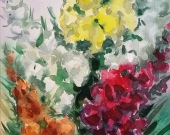 Original Fine Art Watercolor Painting Flowers, Flower Artwork, Floral Snapdragon Bouquet, Colorful Vertical Wall Art Home Decor