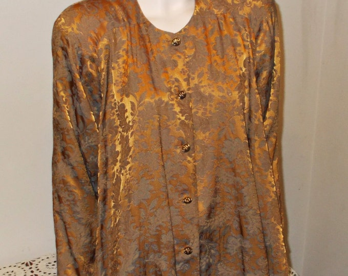 Vintage 80s Rare Black Label Jessica McClintock Avant Garde Bronze Green Floral Brocade Womens Long Sleeve Shift Tunic Mini Dress One Size