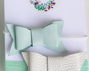 Baby girl hair bows set/ leather bow/ baby girl handband