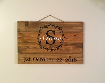 Monogrammed Wood Sign