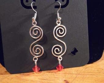 S Swirl Red Earrings.