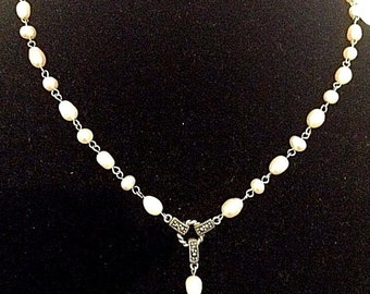 Vintage Pearl and Marquis Sterling Silver Necklace