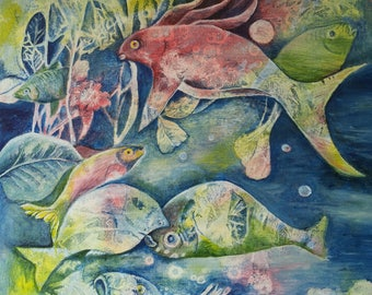 Acrylic painting, original, sea, Ocean, fish picture, gift, painting, acrylic, surreal,