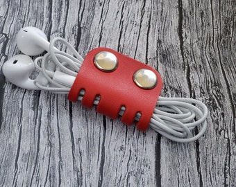 Red Leather Headphone Case // Leather Earphone Holder - Cable Holder - Cord Keeper - Earbud Holder - Leather Cord Organizer