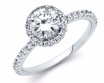 1.30 CT Round Cut Engagement Ring band in Solid 14k White Gold Bridal Halo