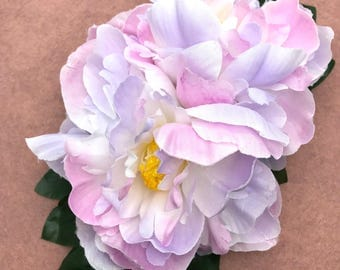 Handmade Double Pink, Lilac, White Peony Hair Flower Clip