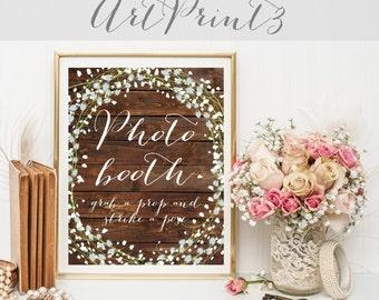 Photo Booth Sign Printable, Wedding Photobooth Sign, Wood Wedding Printable Sign, Floral Wedding Signage, Rustic Wedding Decor Printable