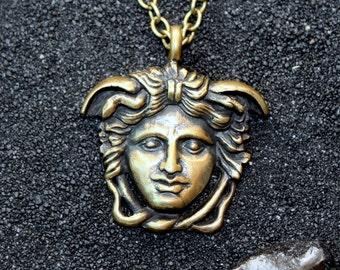 Medusa Rondanini Gorgon Medusa Head Gorgona Pendant Snakes Gorgoneion Ancient Greece : Bronze Handmade Pendant with chain