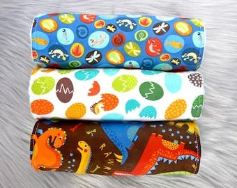 Baby Burp Cloths Set of 3, Baby Boy Gift, Baby Boy, Baby Shower Gift, New Mums - Dinosaurs