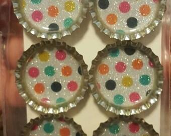 Colorful Polka Dot Bottle Cap Magnets