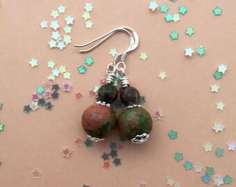 Unakite earrings / bohemian earrings / delicate earrings / everyday earrings for women / birthday gift for her / dainty drop earrings