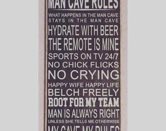 "Rustic Wood Sign - Man Cave Rules - 12"" x 24"""