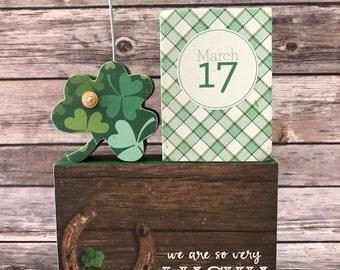 St. Patrick's Day  3-Block Photo/Card Holder with Shamrock