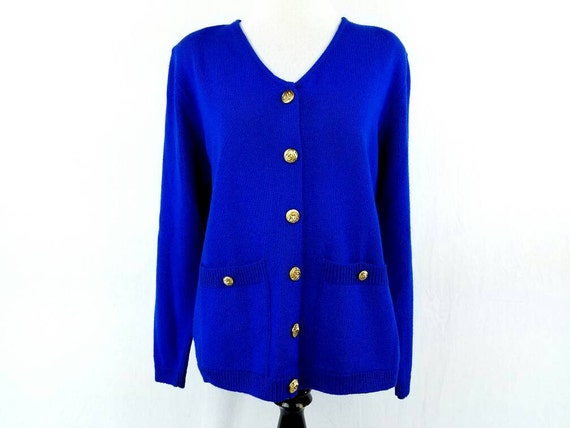 80s Navy Blue Cardigan Sweater Womens Royal Blue Cardigan