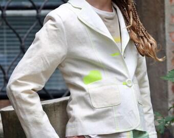 White linen blazer for girls/Kids slim fit blazer/Casual white linen jacket/Toddler girl white blazer jacket/Linen suit jacket/Sports coat