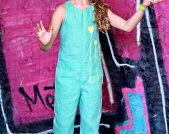 Girls blue romper dress/Toddler girl wide leg jumpsuit/Kids one piece jumpsuit/Summer jumpsuit/Casual jumpsuit/Linen jumpsuit/Girls jumpsuit