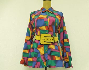 VINTAGE:  80's Jordan Brand Polyester Button-Up Colorful  Meduim Blouse/ Long Sleeve Blouse / Colorful  Blouse.{H1-243#00907}