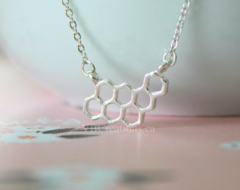 Honeycomb Necklace - Bee Necklace - Hive - Hexagon Necklace - Geometric - Dainty Chain - Gold - Silver- Gift for her - Gift Ideas - Sister