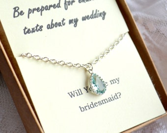 Mint bridesmaid necklace set of 7 seven Erinite jewelry drop pendant Mint Jewelry Mint Necklace Pastel blue necklace Erinitie gift br54876