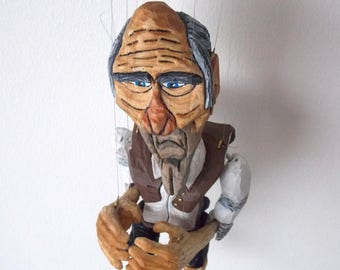 Czech handmade wooden puppet Poor Farmer 9 strings marionette