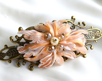 Hairclip for elegant dayes with abstract flover and crystals in Art Nouveau style.Polymer clay,unique hand made work.