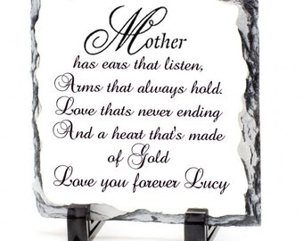 """Personalised Mothers Day Rock Slate """"Mother has ears"""""""