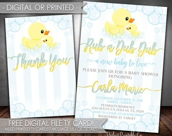Rubber Duck Baby Shower Invitation, Rubber Duck Invitation, Rubber Duck Baby Sprinkle Invitation, Rubber Duck Invite, Rub a Dub Dub #590