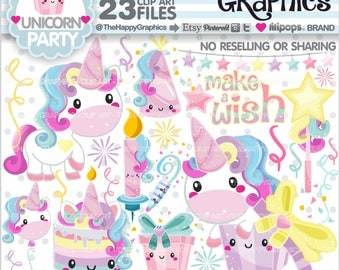 80%OFF - Unicorn Clipart, Unicorn Graphics, COMMERCIAL USE, Unicorn Party, Magical, Magic, Cute Unicorn, Unicorn Illustration, Kawaii, Cute