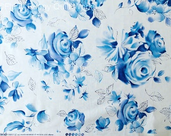 Blue Rose Quilting Fabric, Quilt Cotton, 1 1/2 yards, Floral Quilt Fabric, Blue Flower Quilting Cotton
