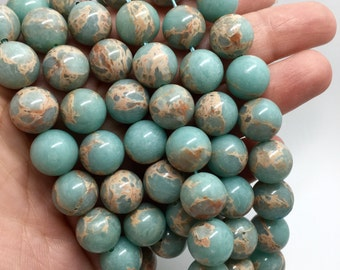 12mm Snake Skin Jasper Gemstone Beads - Aqua Terra Jasper - 15.5 inch Full strand - Round Gemstone Beads - Gemstone Beads
