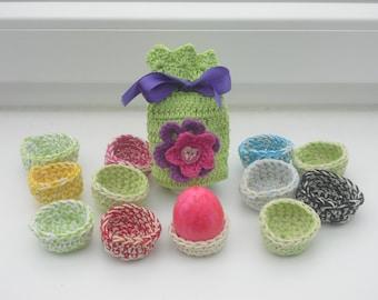 Crochet 12 egg and 1 egg - Easter - handmade breakfast table - decorations -