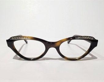 New Old Stock, Vintage Liberty Cateye Rhinestone Glasses Frames, NOS, 1950s-1960's Rhinestone Honey Tortoise Shell Cat Eyeglasses Sunglasses